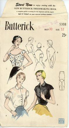 1950s Blouse Vintage Pattern Butterick 5308
