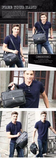 CROSS OX Genuine Leather Bag Casual Men Handbags Cowhide Men Crossbody Bag Men's Travel Bags Laptop Briefcase Bag for Man HB316F