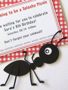 El listado es para 8 invitaciones impresas en cartulina lino blanco y montado sobre una hormiga de capas de papel de cartulina hecha a mano. Medidas approximately4 1/2 por 4 1/2 pulgadas (11 por 11 cm) y vienen con sobres de Kraft papel A6. Precio se puede ajustar para pedidos más Ant Crafts, Crafts To Make, Crafts For Kids, School Projects, Projects To Try, Picnic Decorations, 8th Birthday, Infant Activities, Paper Quilling