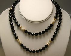 Lovely vintage 14k gold black onyx and cultured by mildredsplace, $85.00
