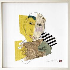 Mixed media. Wire portrait in one piece with paper collage. Size 50x50 cm. Title Pablo. Artist Agneta Pihlström