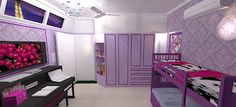 This room was designed for Sanya, a 10 year old sweet little girl who loves the colour purple, lives in India and is a true fashonista. The final concept is what you can see in the above picture.