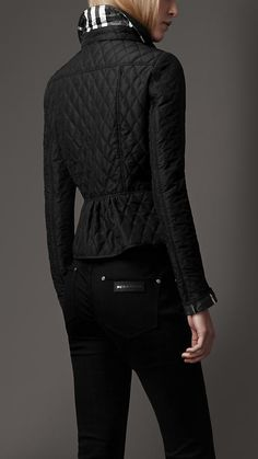 I want/must have/need this jacket. <3 at first sight.    Burberry Peplum Waist Quilted Jacket