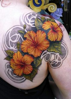 Hibiscus tattoo just the flowers