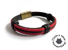 Bracciale UOMO pelle NERO ROSSO cordino scamosciato braccialetto polsino, by «:::Mosquitonero Shop:::», 10,90 € su misshobby.com