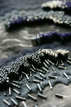 Beading, Stitch Texture - close up fabric surface detail #textiles // Abigail…