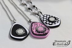 https://flic.kr/p/FyrcS3 | Polymer clay necklaces, black & white and black & pink | www.facebook.com/mountain.pearls