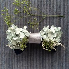 flower bowtie    -mist green-