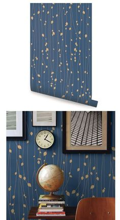 Leaves Navy Blue Peel and Stick Wallpaper - Wall Sticker Outlet Wallpaper Bathroom Walls, Blue Wallpaper Bedroom, Blue And Gold Wallpaper, Bathroom Accent Wall, Navy Wallpaper, Blue Wallpapers, Painted Wallpaper, Peel Off Wallpaper, Stick On Wallpaper