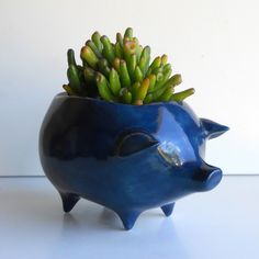 Ceramic Pig Planter Vintage Design in Navy. $34.00, via Etsy.    Love the color on this one!