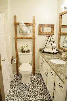Related posts: 35 Marvelous Farmhouse Bathroom Storage And Organization Ideas 33 Best Farmhouse Master Bathroom Remodel Ideas 35 Luxury Farmhouse Bathroom Design and Decor Ideas You Will Go Crazy … Lovely Farmhouse Bathroom Decor and Design Ideas Bathroom Ladder, Painted Bathroom Floors, Bathroom Floor Tiles, Bathroom Makeover, Linoleum Flooring, Painting Bathroom, Farmhouse Master Bathroom, Bathroom Flooring, Bathroom Decor