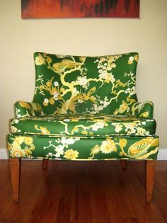 Los Angeles: Vintage Mid Century 1960's Low Green Upholstered Lounge / Club Chair $300 - http://furnishlyst.com/listings/443673