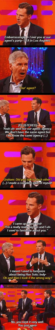 Benedict Cumberbatch is a huge fan of Harrison Ford… Click through for the last line as it's a gif. Well worth it.