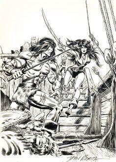 John Buscema pencils and John Romita Sr. inks. Conan the Barbarian #58 1976