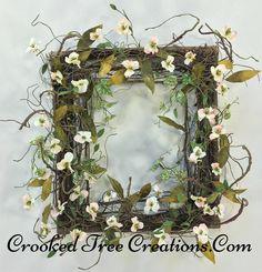 Rustic Wild Flower Square Twig Wreath