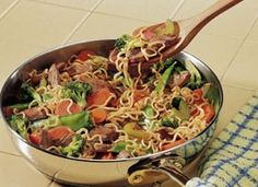 Ramen Stir-Fry - so easy and delicious & less than $5 4 packs of Ramen Noodles 1 bag of frozen stir fry mix 1 lb of chicken 1/2 tsp ground g...