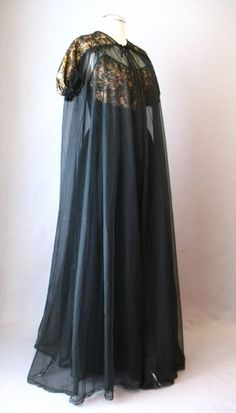 1950s Sheer Black Peignoir Set. Nightgown Full Sweep Robe, via Couture Allure Vintage Clothing.