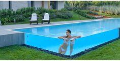 Homemade Swimming Pools, Swimming Pools Backyard, Swimming Pool Designs, Pool Landscaping, Small Pool Design, Small Garden Design, Container Pool, Glass Pool, Indoor Pools