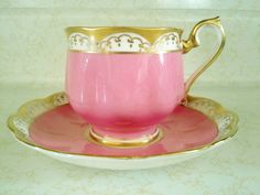 Royal Albert Tea Cup Saucer Pink with Gold Scroll