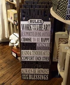 'Family Rules' Plaque/Cracker Barrel Old Country Store Old Country Stores, Family Rules, Crackers, Letter Board, Barrel, Happy, Pretzels, Barrel Roll, Biscuit