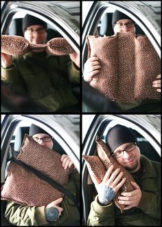 The Perfect Road Trip Pillow - seatbelt hugging pillow with sewing directions from Mrs. Frugal Franny