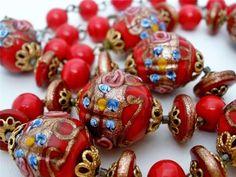 Red Wedding Cake Bead Necklace Vintage Foil Venetian Murano Art Glass Bead   eBay