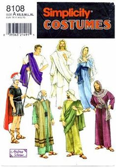 Simplicity 8108 Sewing Pattern Adult Biblical Passion Play Costumes Bust / Chest 30 - 48 by Simplicity, http://www.amazon.com/dp/B002W31HF0/ref=cm_sw_r_pi_dp_Gcfrsb12CZT7F