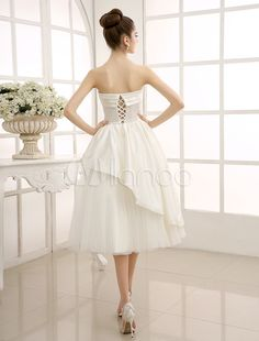 Tea-Length Ivory Ruffled Wedding Dress with A-Line Spaghetti Straps Milanoo