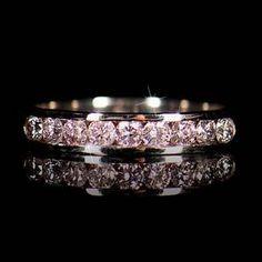 RRV $7,800 - 18ct White Gold, 0.58ct Pink Diamond Wedding Ring