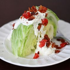 Wedge Salad with Creamy Parmesan Dressing. Perfect for date night in!