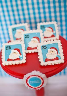 North Pole Baking Christmas Party via www.karaspartyideas.com. Love the stamp cookies!
