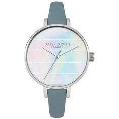Kylie Iridescent Striped Dial Grey Strap Ladies Watch ($52) ❤ liked on Polyvore featuring jewelry, watches, bezel jewelry, dial watches, bezel watches, leather wrist watch and water resistant watches