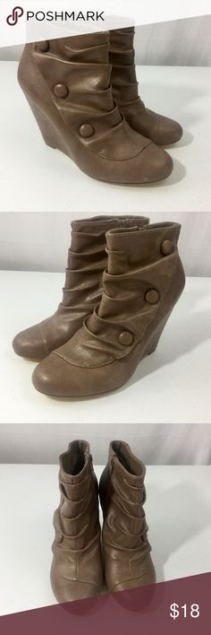 Just Fab Call it Spring Leather Booties Size 10 Very good used condition. Shows minor wear from normal use (see pics). Women's size 10. Color tan/brown. Side zipper. Simulated side buttons. Wedge bottom. Call It Spring Shoes Ankle Boots & Booties
