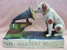 Vintage RCA Nipper Dog Statue with Phonograph - His Masters Voice | eBay