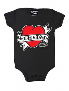 Cartel Ink Kid's Mom And Dad Heart Tattoo Infant One Piece Snap T-Shirt - Black