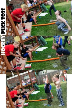 Hockey Puck Toss, We had two teams and a tosser for each team, we opened two packages of hockey pucks (generic oreos in our case) and the team that caught the most in their mouths won.  From our Ice Hockey theme birthday party last year.
