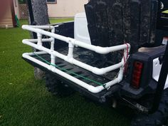 Diy pvc bed extender for pioneer deluxe. I want to start by giving credit to Happy Honda from Honda SXS .com forum who originally made this extender. Chevrolet Silverado, Chevy, Truck Bed Extender, Honda Owners, Bed Extension, Honda Pioneer 1000, Silo House, Side Bed, Honda Motors