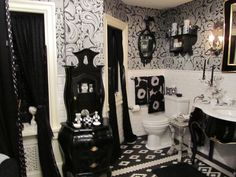 Black and White Bathroom this is to much, but some good ideas here.