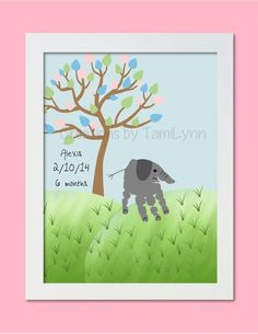 Elephant Handprint Art  Personalized Baby by CreationsbyTamiLynn, $20.00