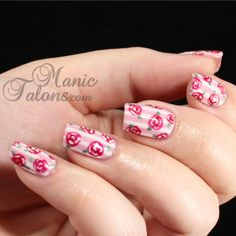 Nailpolis Museum of Nail Art   Stripes and Roses with IBD by ManicTalons