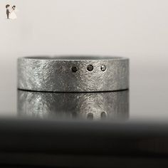 6 mm Oxidized Rough Finish Ring with Three Black Diamonds - Wedding and engagement rings (*Amazon Partner-Link)