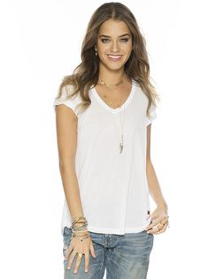 Solid White Logan Fashion V-Neck Top