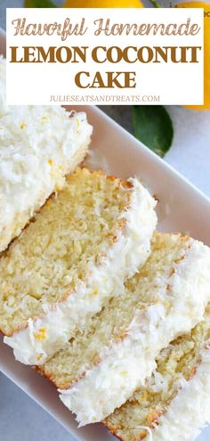 Tender, Fluffy Lemon Loaf Cake Topped with Cream Cheese Frosting, Coconut and Lemon Zest! Lemon And Coconut Cake, Coconut Loaf Cake, Coconut Desserts, Coconut Recipes, Lemon Desserts, Lemon Recipes, Easy Desserts, Baking Recipes, Delicious Desserts