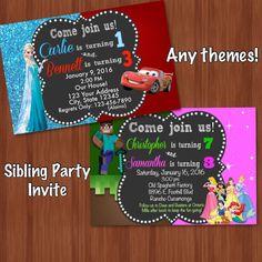 chalkboard birthday invitation sibling invitation dual birthday