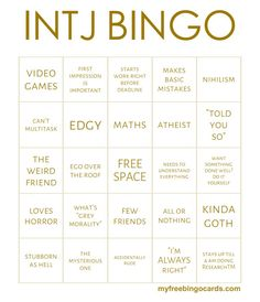 "niel 16 on Twitter: ""✨MBTI Bingo cards ✨"""