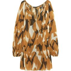 Lenny Niemeyer Lenny Niemeyer - Printed Georgette Dress - Light brown (6.640 RUB) ❤ liked on Polyvore featuring dresses, light brown dress, oversized dress, slip on dress, mini dress and long-sleeve mini dress