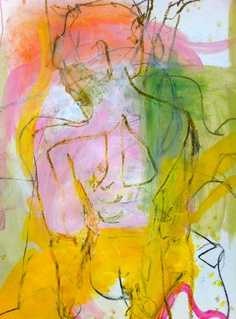 PINK NUDE gouache and oil pastel on paper by ali mcnabney-stevens - AVAILABLE. Represented by Julia Green of Greenhouse Interiors . Please contact Julia Green at mailto:julia@gree... for more information.