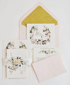 Such a pretty set of blush pink and gold floral wedding invitation #wedding #pink #gold #glitter #weddinginvite