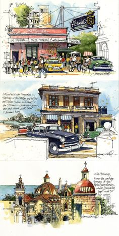 Drawing sketches architecture water colors 41 ideas for 2019 Drawing sketches a. Travel Sketchbook, Art Sketchbook, Drawing Sketches, Art Drawings, Drawing Art, Watercolor Architecture, Architecture Drawing Sketchbooks, Watercolor Sketch, Watercolor Journal