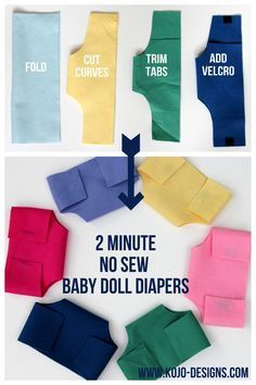Felt NO SEW baby doll diapers! Great for dramatic play with Toddler Age Group! That way they aren't confusing play realistic diapers for their own.